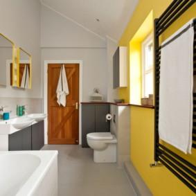 Conception de salle de bain en jaune et blanc
