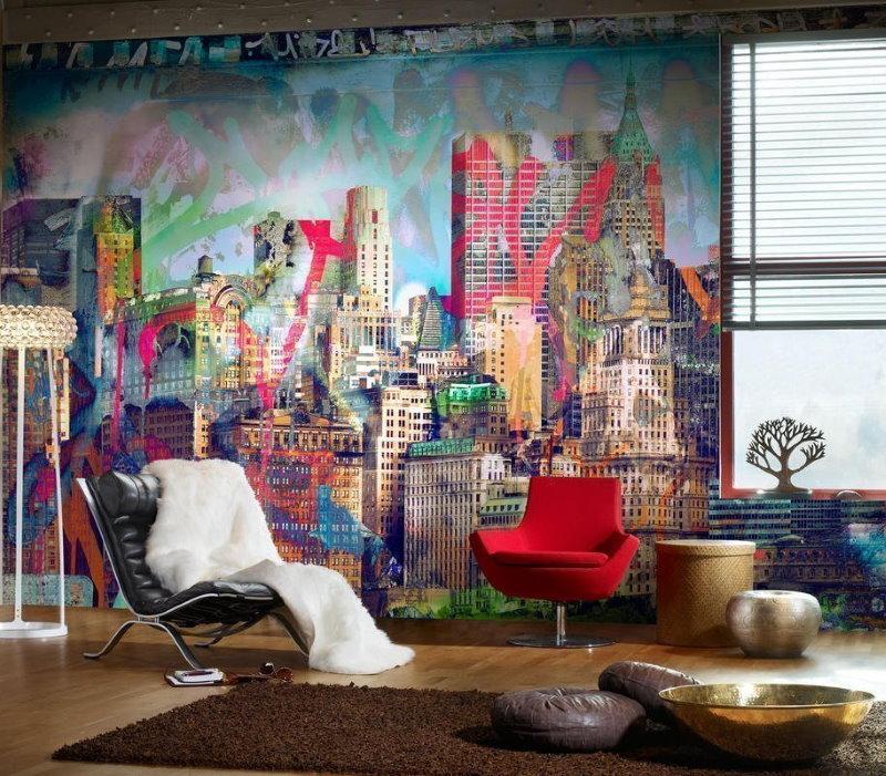Paysage de la ville sur le mur du salon de l'appartement