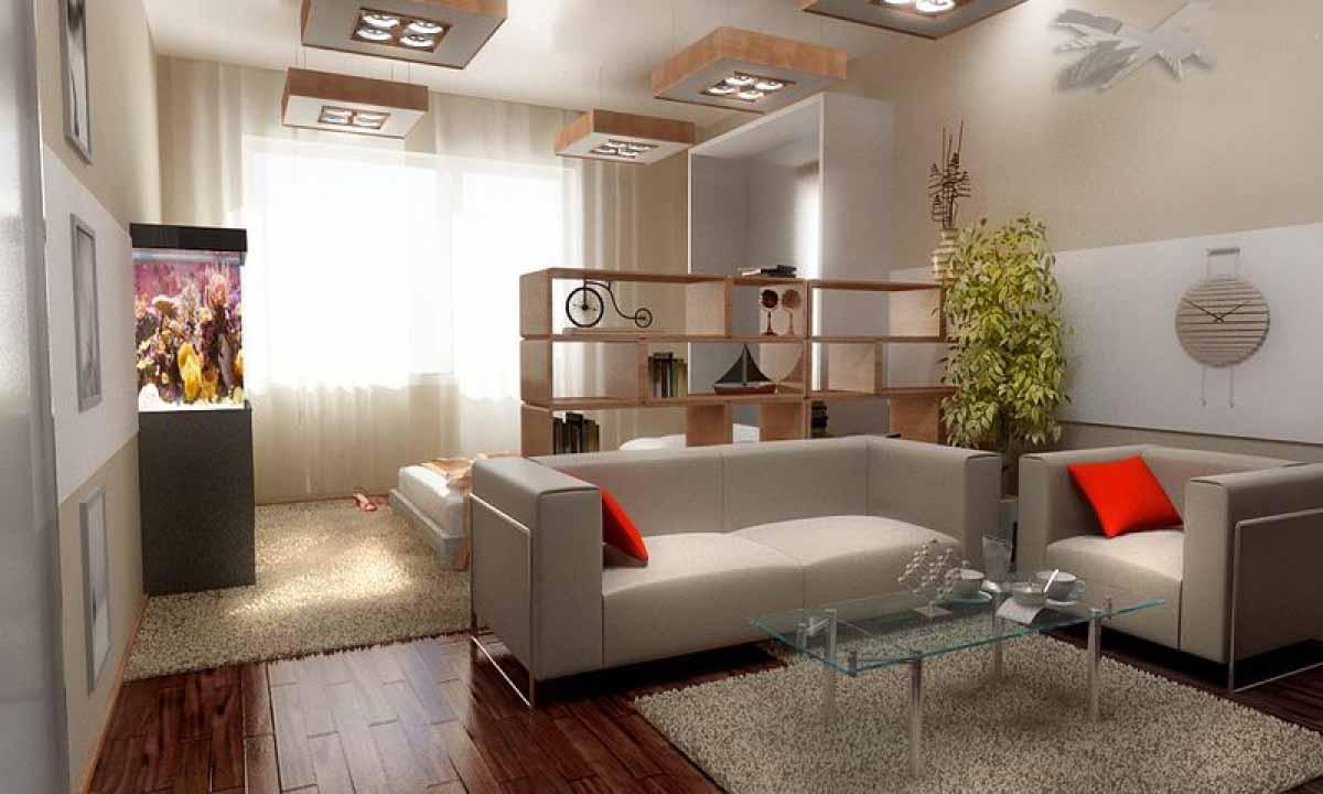 Salon de 20 m² avec vue sur la chambre à coucher