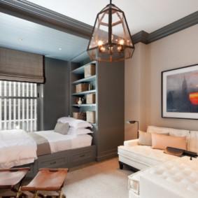 salon chambre à coucher de 20 m² décor