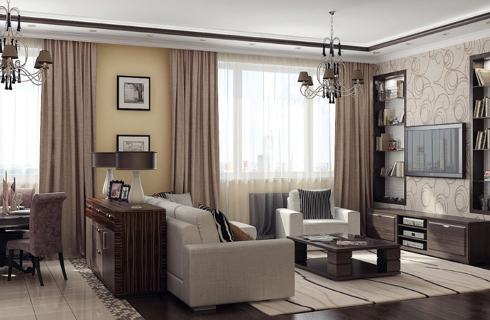 Deux fenêtres dans le salon d'un appartement de deux pièces