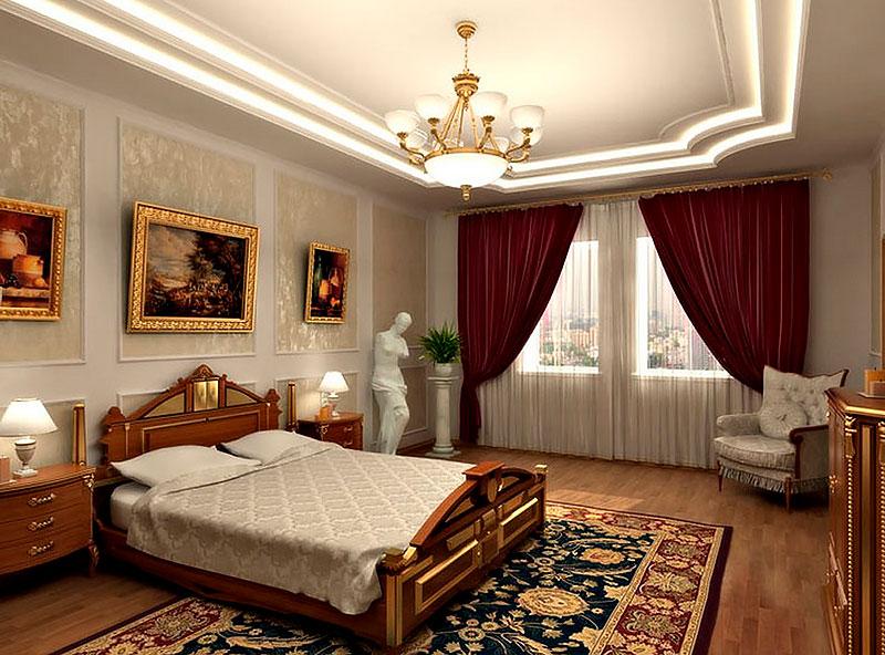 Image dans des cadres dorés dans une chambre de style classique