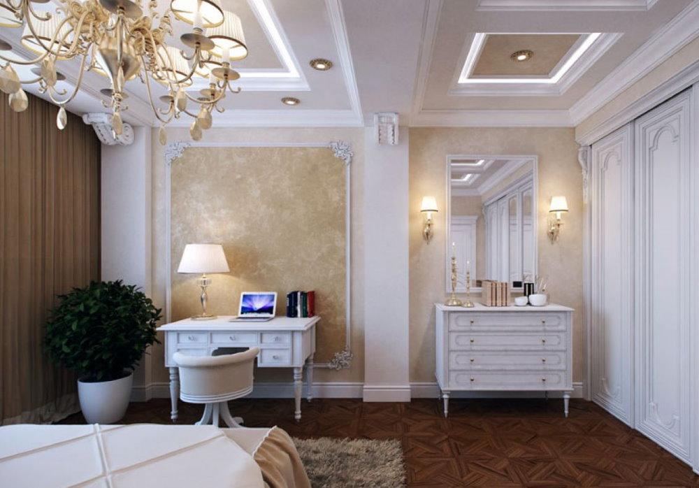 Intérieur de chambre classique avec bureau