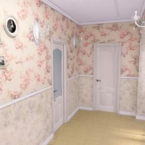 papier peint combiné dans le couloir de l'appartement