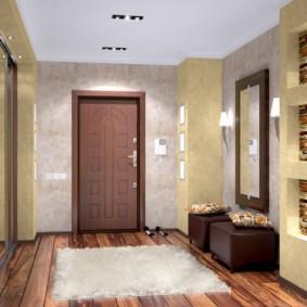 papier peint combiné dans le couloir des idées de conception de l'appartement