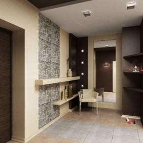papier peint combiné dans le couloir de la photo de décor de l'appartement
