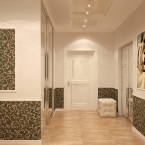 papier peint combiné dans le couloir de la décoration photo de l'appartement