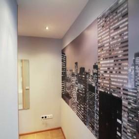 papier peint combiné dans le couloir de l'intérieur photo de l'appartement