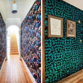 papier peint combiné dans le couloir des options d'idées d'appartement