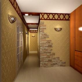 papier peint combiné dans le couloir de l'aperçu des idées d'appartement