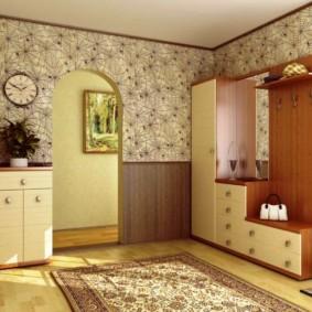 papier peint combiné dans le couloir de la photo de conception de l'appartement