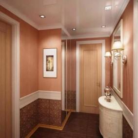 papier peint combiné dans le couloir de la conception photo de l'appartement