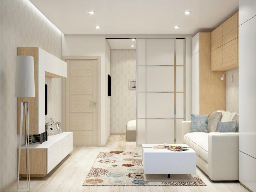Chambre lumineuse odnushki dans un style high-tech