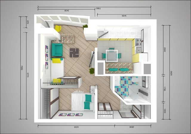 Schéma de réaménagement d'un studio de 44 tonnes