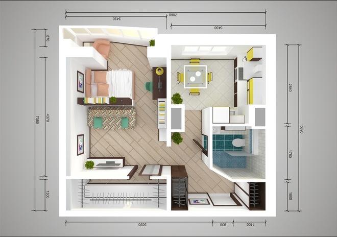 Le plan de réaménagement d'un appartement de 44 t avec une pièce