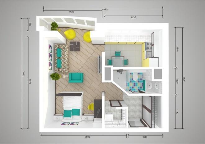 Plan de réaménagement d'un studio dans une maison en panneaux