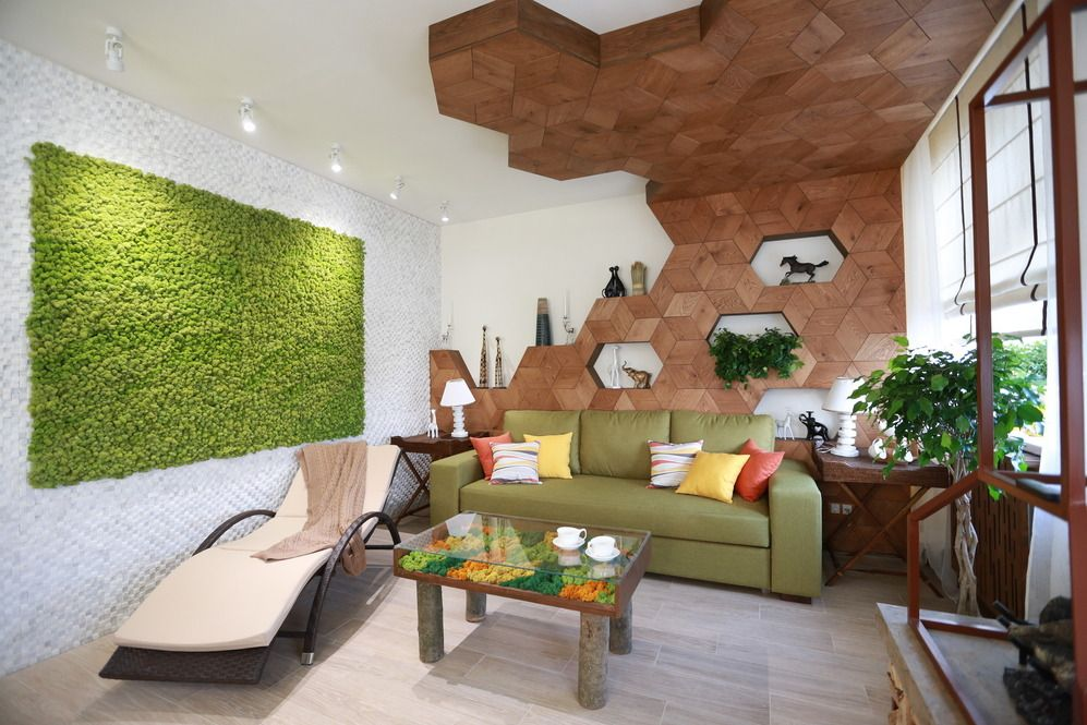 Appartements de salon modernes dans un style écologique