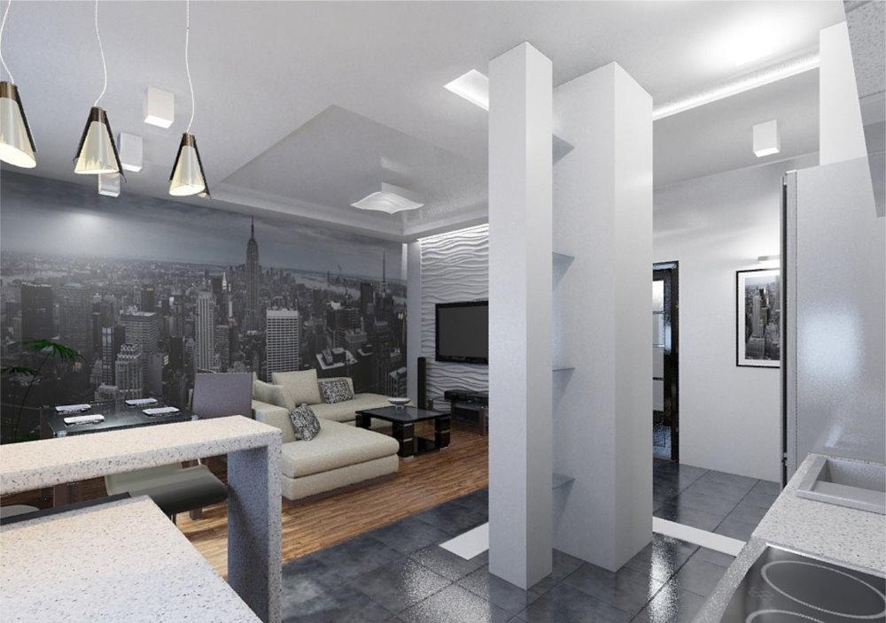 Design d'appartement d'une pièce de haute technologie
