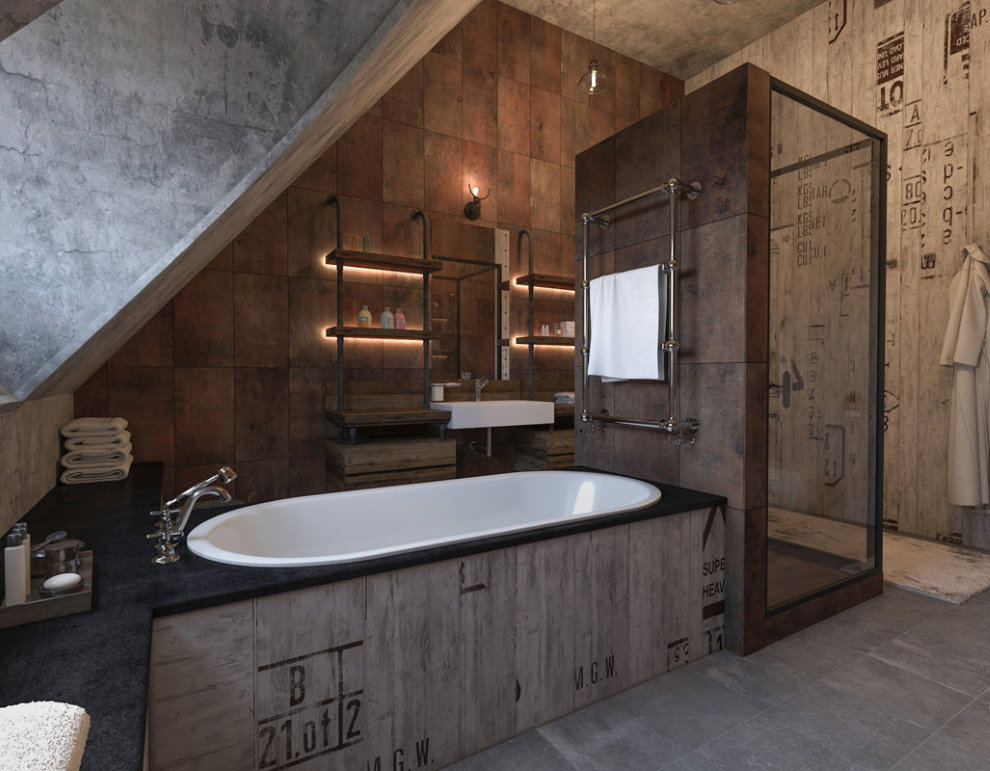 Loft industriel à l'intérieur de la salle de bain dans le grenier