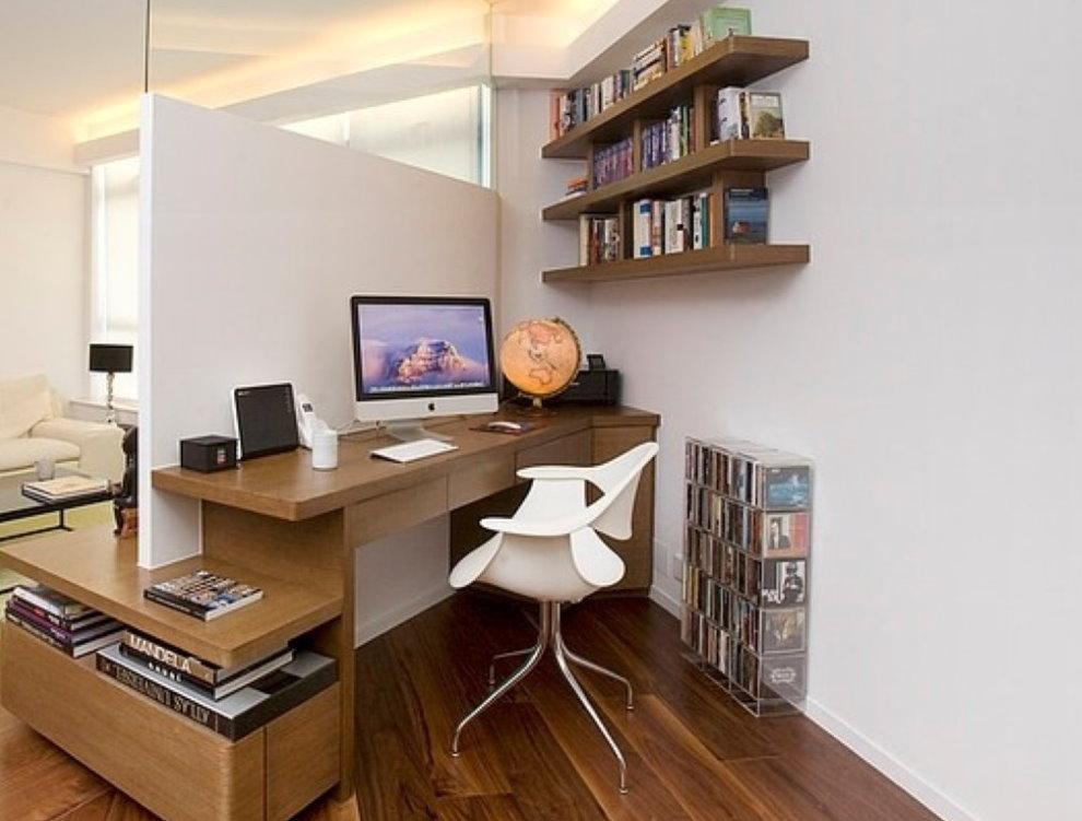 Lieu de travail dans la chambre d'un style minimaliste.