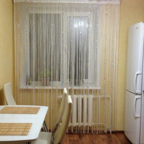 rideaux dans la décoration photo de la cuisine