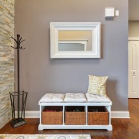 papier peint et pierre décorative à l'intérieur du décor photo du couloir