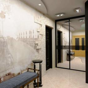 papier peint et pierre décorative à l'intérieur des idées de décoration de couloir