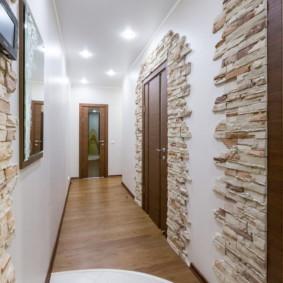 papier peint et pierre décorative à l'intérieur du couloir photo