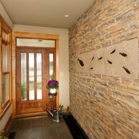 papier peint et pierre décorative à l'intérieur de la décoration photo du couloir