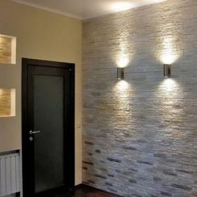 papier peint et pierre décorative à l'intérieur de la conception des idées de couloir