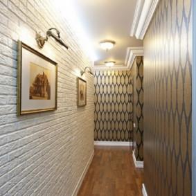 papier peint et pierre décorative à l'intérieur des options de photo de couloir