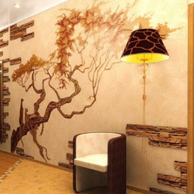 papier peint et pierre décorative à l'intérieur des idées idées couloir