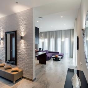 papier peint et pierre décorative à l'intérieur des options d'idées de couloir