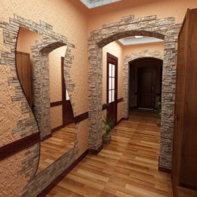 papier peint et pierre décorative à l'intérieur de la salle