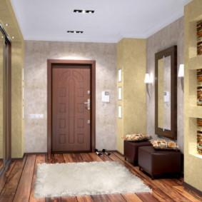 papier peint et pierre décorative à l'intérieur du couloir vues photo