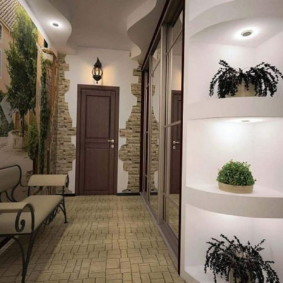 papier peint et pierre décorative à l'intérieur de l'espèce photo couloir