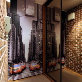 papier peint et pierre décorative à l'intérieur du couloir sortes d'idées