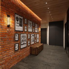 papier peint et pierre décorative à l'intérieur des types d'idées de couloir