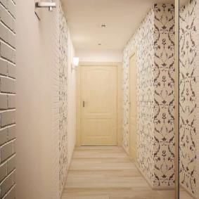 papier peint et pierre décorative à l'intérieur du couloir aperçu des idées