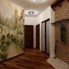 papier peint et pierre décorative à l'intérieur des couloirs types de conception