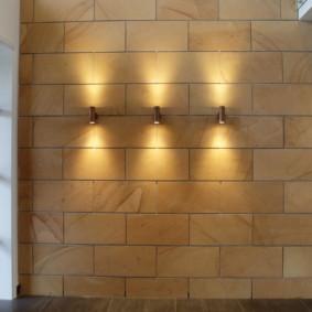 papier peint et pierre décorative à l'intérieur des idées de photo de couloir