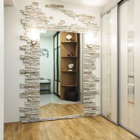 papier peint et pierre décorative à l'intérieur de la conception de photo de couloir