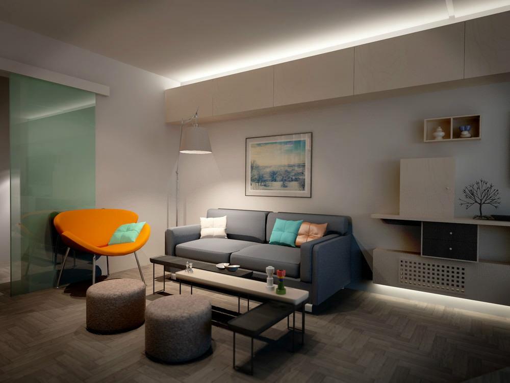 Fauteuil lumineux dans la chambre d'un appartement en ville