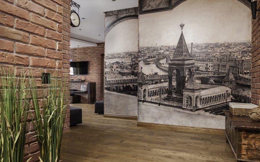 décoration du couloir avec pierre décorative et papier peint photo