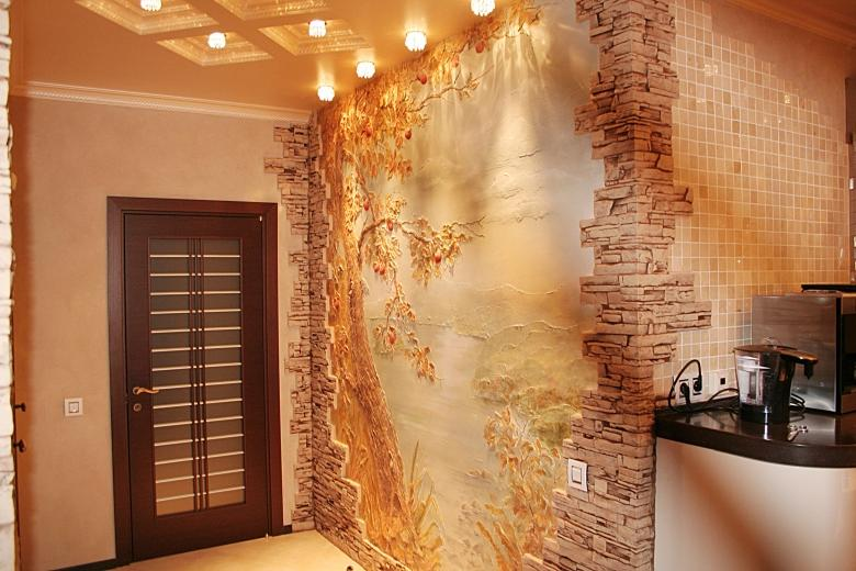 décoration du couloir avec pierre décorative
