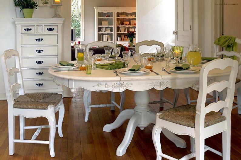 table ovale sur un pied pour la cuisine