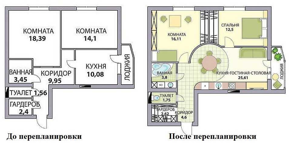 Plan de réaménagement d'un appartement de deux pièces en trois roubles avec une cuisine-séjour