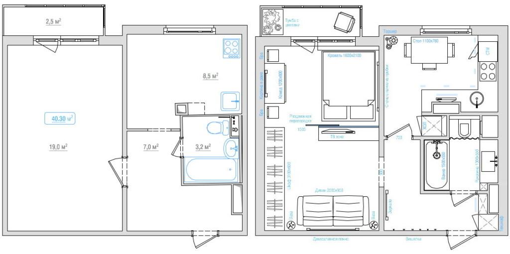 Plan d'un studio avant et après réaménagement