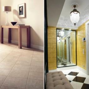 carreaux de sol dans le décor du couloir