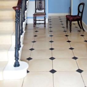 carreaux de sol dans le décor photo du couloir